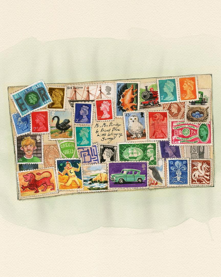 A carta que os Weasley enviam para os Dursley, cheia de selos.