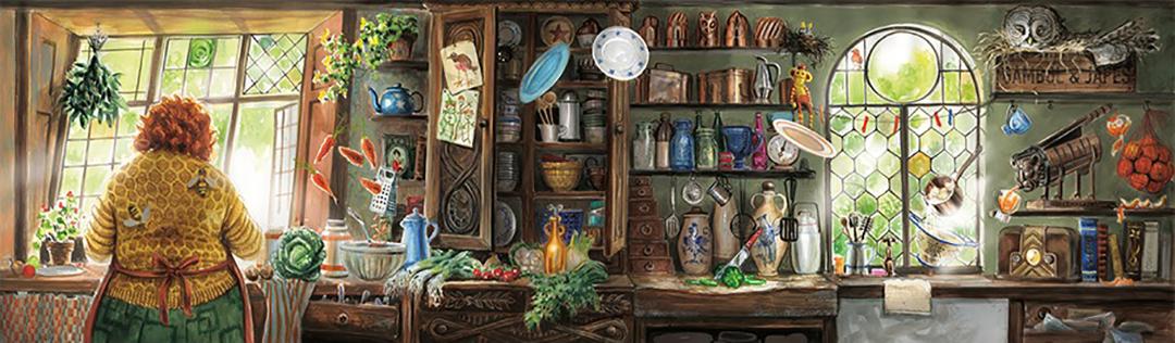 A ilustração é a visão oposta da anterior. A vista é de dentro d'A Toca e mostra a sra. Weasley na pia, e vários utensilhos de cozinha pela parede, em prateleiras. Em cima de uma prateleira, uma coruja descansa.