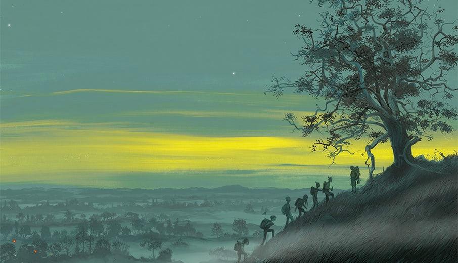 Uma vista panorâmica do sol nascente. Os Weasleys, Harry e Hermione sobem um morro em direção a uma figura, Amos Diggory, embaixo de uma árvore.