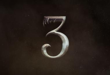 O número três com a fonte utilizada nos logos da série. Ele tem garras que lembram de animais.