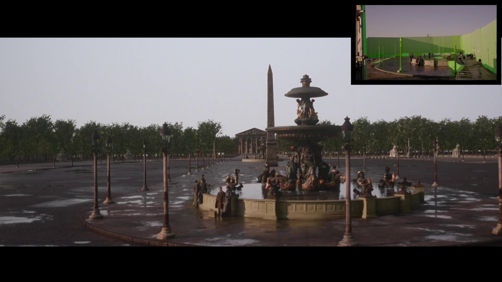 Plano geral da cena mostra a praça e, ao fundo, árvores. No canto da tela, aparece como a cena foi filmada, com tela verde.
