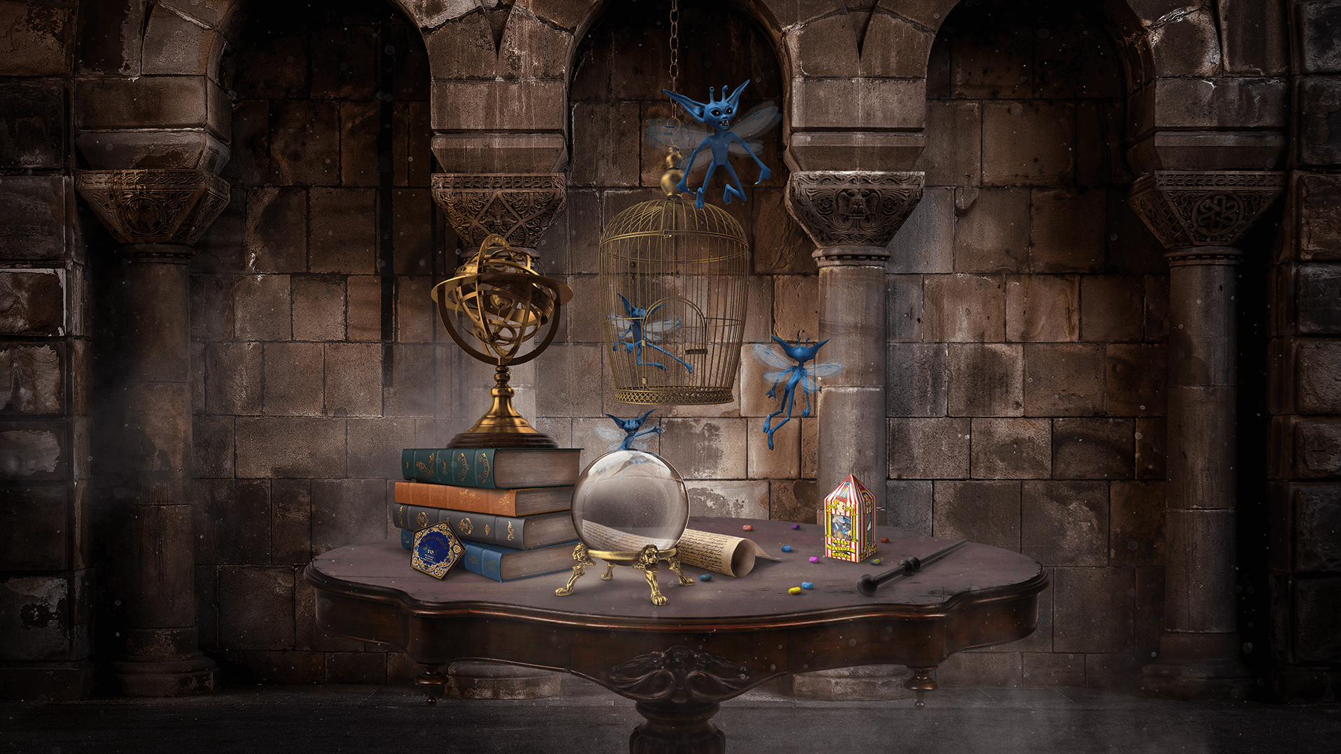 Numa sala com paredes antigas, uma mesa sustenta vários objetos: uma bola de cristal, uma varinha, uma caixa de feijõezinhos de todos os sabores, alguns livros, um instrumento de metal dourado, um pergaminho e uma caixa de sapo de chocolate. Presa no teto, há uma gaiola aberta e, saídos dela, alguns diabretes da cornualha.