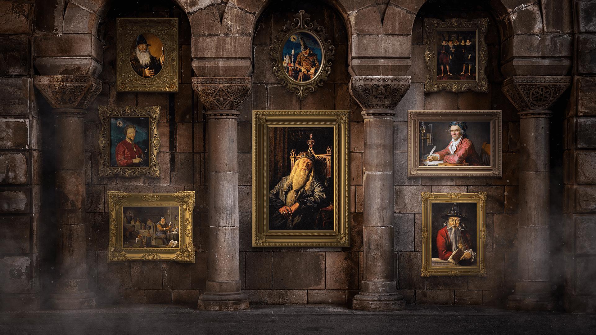 Numa sala com paredes antigas, há diversos quadros com personagens históricos. No centro, uma pintura de Dumbledore, dormindo.