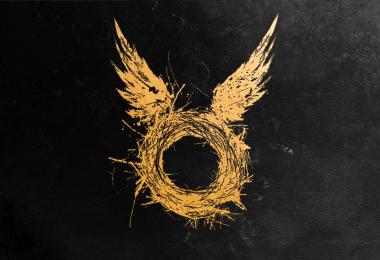Sob um fundo preto com textura de papel velho, há uma ilustração de um ninho com asas dourada.
