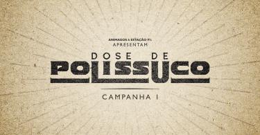 """Sob a textura de um papel antigo, lê-se """"Animagos e Estação 9 3/4 apresentam 'Dose de Polissuco' - campanha 1"""""""