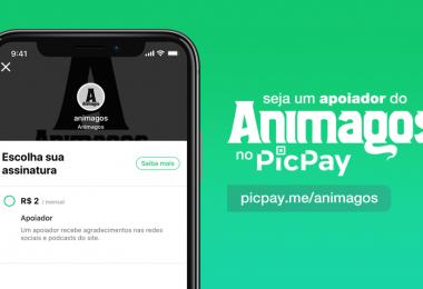 """Arte com uma foto de um celular com a página do Animagos no picpay aberta. Ao lado o texto """"Seja um apoiador do Animagos no picpay."""" e embaixo o link."""