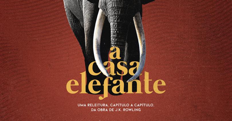 """Uma foto de um elefante sobre um fundo vermelho. Na sua frente, o texto """"A Casa Elefante: uma releitura, capítulo a capítulo, da obra de J.K. Rowling""""."""