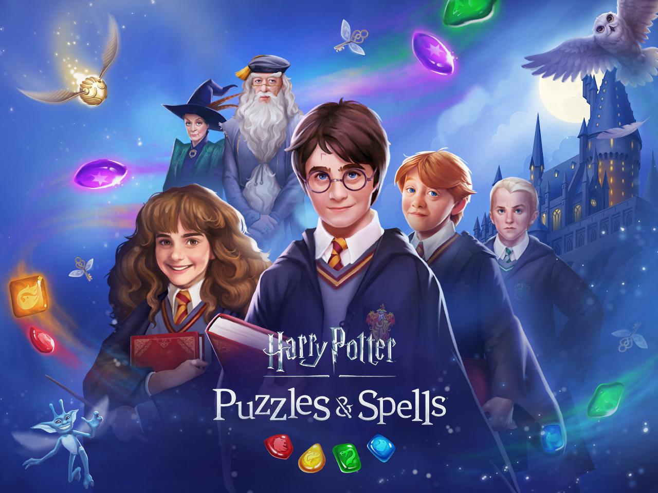 Arte do jogo Harry Potter: Puzzles & Spells, mostrando Minerva, Dumbledore, Hermione, Harry, Rony e Draco.