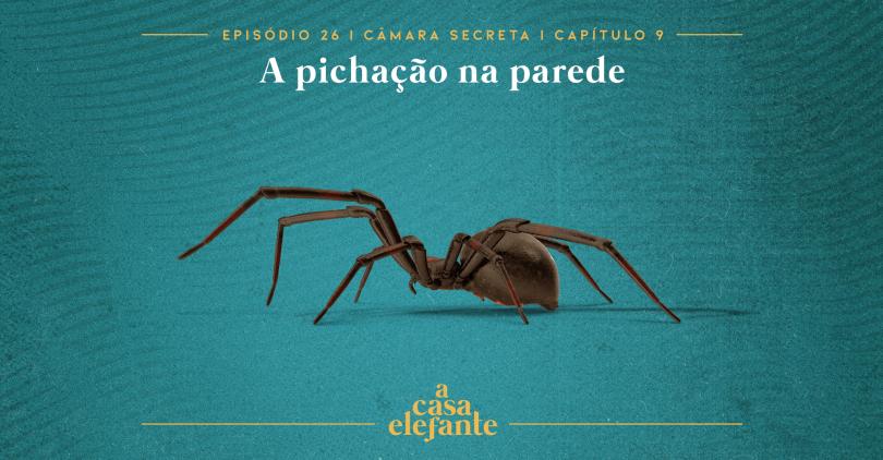 Capa do episódio. Nela, há texto com as informações do episódio e, no centro uma aranha. O fundo é verde-água.