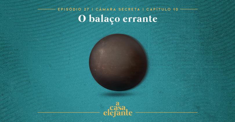 Capa do episódio. Nela, há texto com as informações do episódio e, no centro uma bola de couro marrom que parece voar. O fundo é verde-água.