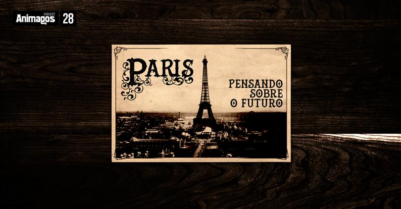 """Uma foto de um cartão postal de Paris, com a torre Eiffel no centro, e o nome da cidade do lado esquerdo. À direita, o título """"Pensando sobre o futuro""""."""