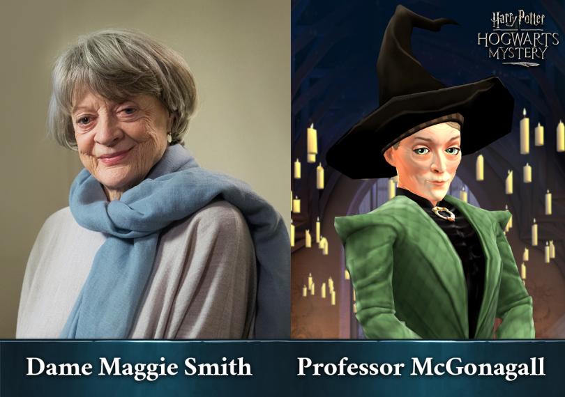 Imagem dividida em duas partes. Do lado esquerdo, vemos a atriz Maggie Smith. Do outro lado, vemos a Professora McGonagall em uma arte de Mistérios de Hogwarts.
