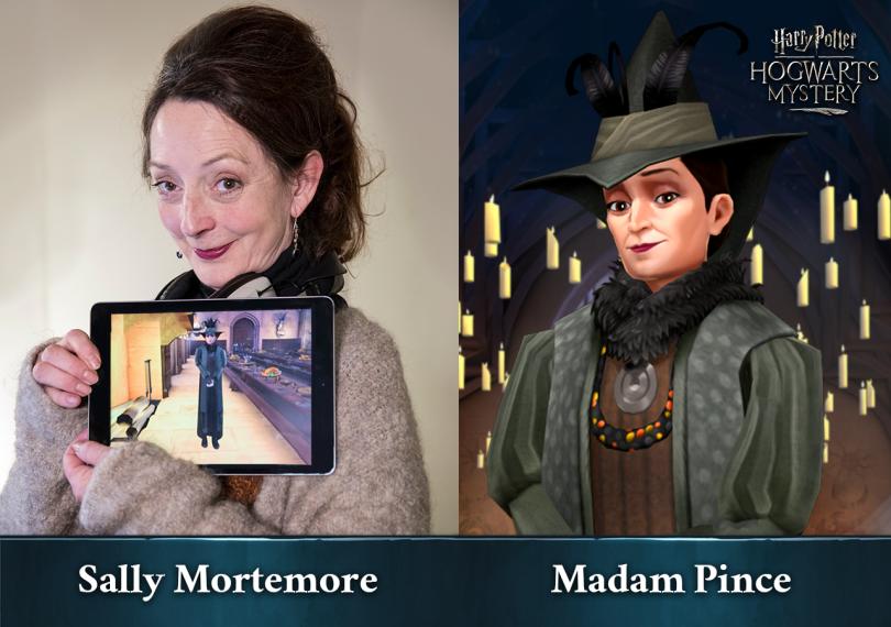 Imagem dividida em duas partes. Do lado esquerdo, vemos a atriz Sally Mortemore segurando um tablet mostrando a personagem Madame Pince no jogo Harry Potter: Mistérios de Hogwarts. Do outro lado, vemos Madame Pomfrey em uma arte de Mistérios de Hogwarts.
