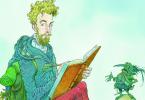 Na imagem, um homem loiro escreve num livro. Ele carrega uma mochila. À sua frente, um gnomo parece falar com ele.