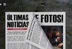 """Foto de um jornal com as manchetes """"Últimas notícias e fotos"""" sobre uma mesa de madeira escura. Embaixo da manchete, há uma foto do Newt Scamander no segundo filme de Animais Fantásticos e textos ilegíveis."""