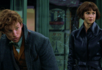 Newt e Tina no Ministério da Magia francês. Newt está curvado e com a varinha apontada para cima. Está feliz. Tina observa o mesmo lugar que Newt olha também sorrindo.