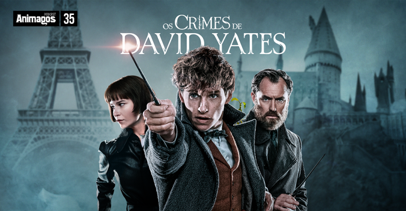 "O título do episódio ""Os Crimes de David Yates"", e embaixo Tina, Newt e Dumbledore."