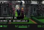 Grindelwald e Queenie caminham por um jardim cheio de flores cor-de-rosa enquanto são filmados por uma câmera. Na imagem, há o número e o título do episódio.