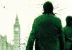 Parte da capa do livro Branco Letal. Nela, vemos Strike e Robin, de costas, observando uma paisagem londrina típica: o Big Ben e o castelo de Westminster.