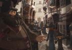 Hagrid, em um traço parecido com anime, mostrando o Beco Diagonal, No fundo, o Banco Gringotes. No lado esquerdo, a Gemialidades Weasley. No lado direito, o Apotecário Slug & Jiggers.