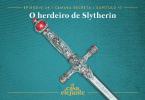 Fundo em tonalidades de verde água, com texturas de xerox e pó. Em destaque, a espada de Gryffindor, que é prateada e tem rubis nas extremidades do seu cabo. Na parte superior, temos o nome do capítulo em branco, e na inferior, o logo do podcast em amarelo.